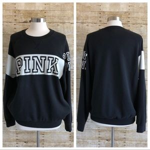 PINK Victoria's Secret Tops - PINK Victoria's Secret Black Logo Sweatshirt